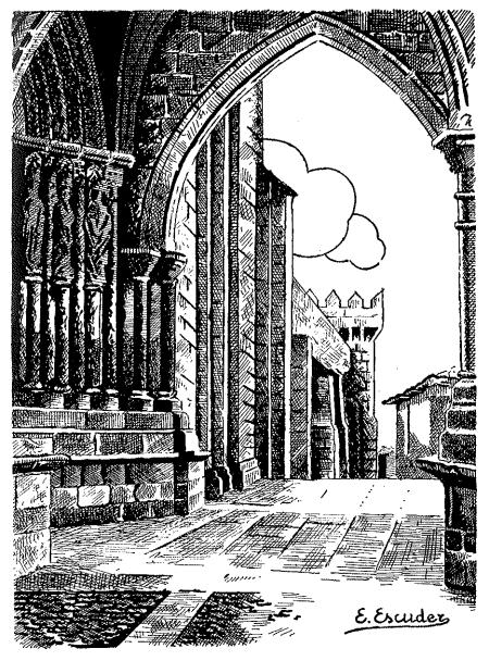 Catedral de Tui. Pórtico de la fachada principal y torre del claustro.